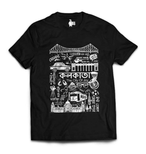 kolkata doodle tee half black mockup with new logo